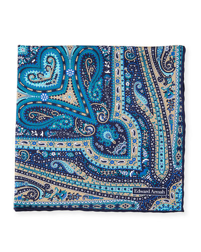 Paisley Print Silk Pocket Square