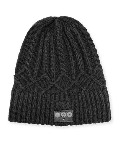 1 Voice Cashmere Cable-Knit Bluetooth Beanie w/ Built-In