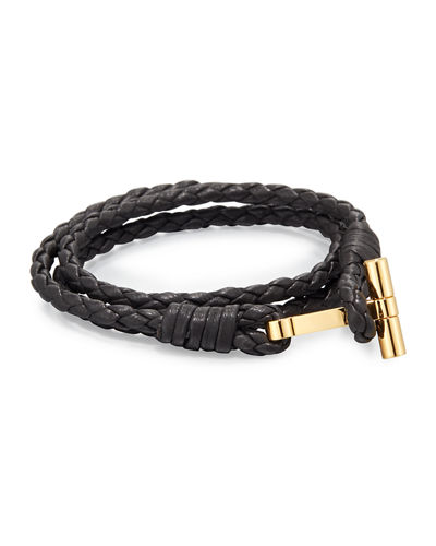 Men's Leather Braided Wrap T Bracelet