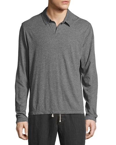 Melange Jersey Long-Sleeve Polo Shirt