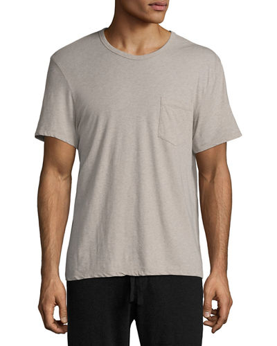 Mélange Cotton-Linen Pocket T-Shirt