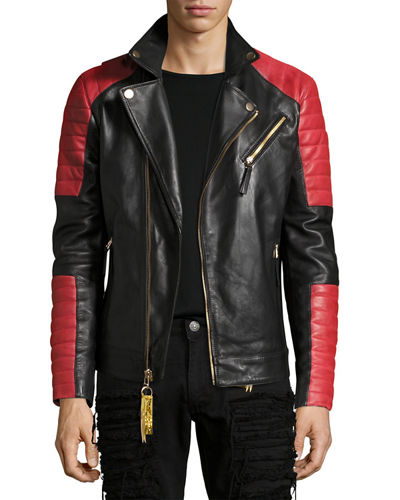 Colorblock Leather Motorcycle Jacket