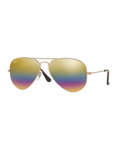 Men's Metal Rainbow Flash Aviator Sunglasses