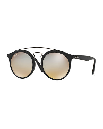 Men's Round Double-Bridge Mirrored Acetate Sunglasses
