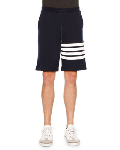 Classic Striped-Leg Sweat Shorts, Navy/White