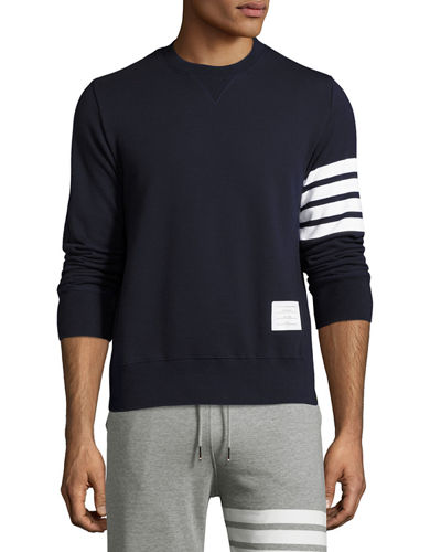 Classic Crewneck Sweatshirt with Striped-Sleeve