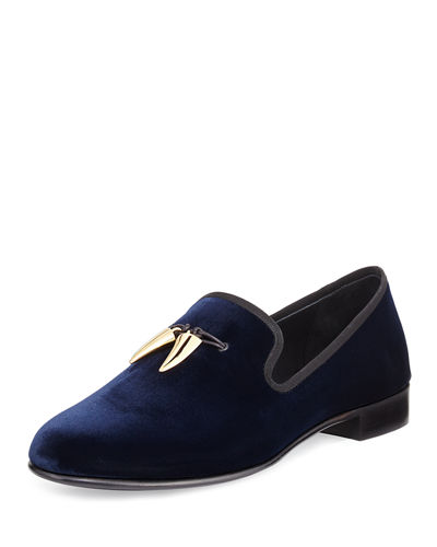 Giuseppe Zanotti Velvet Formal Loafer with Golden Horns