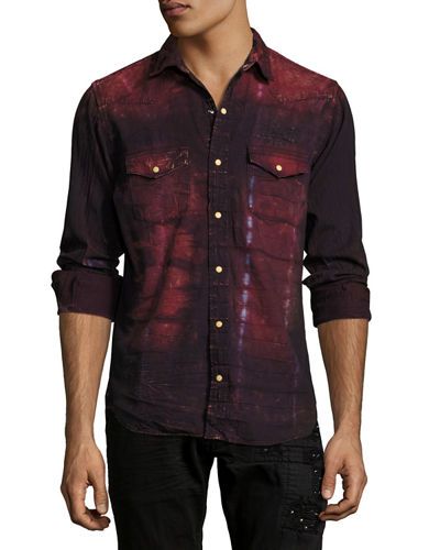 Tie-Dye Denim Western Shirt with Wings