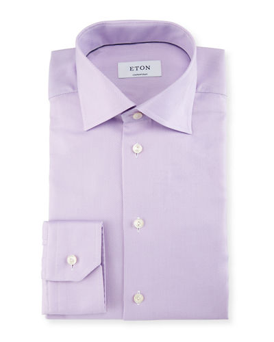 Contemporary-Fit Solid Twill Dress Shirt