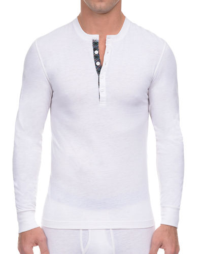 Tartan Tech Long-Sleeve Henley T-Shirt, Winter White