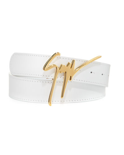 Men's Signature Leather Logo Belt
