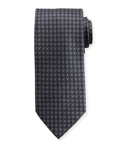 Interlocked-Circle Printed Silk Tie