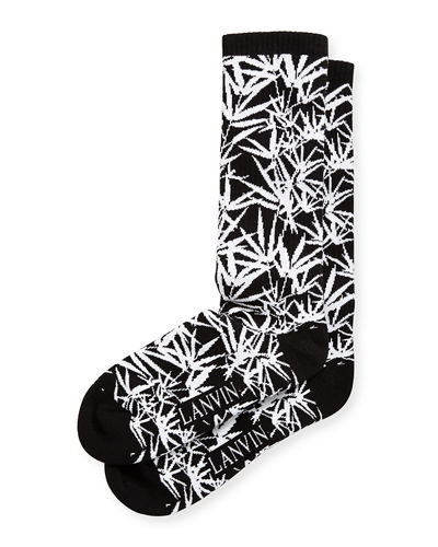 Jungle Leaf Wool Jacquard Socks