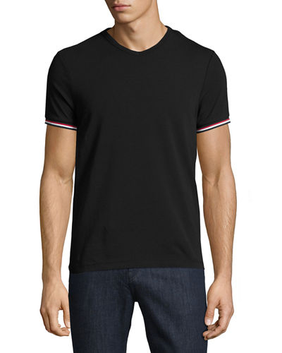 V-Neck T-Shirt with Tricolor-Striped Sleeves