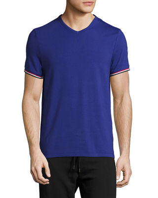MONCLER V-Neck T-Shirt With Tricolor-Striped Sleeves in Black