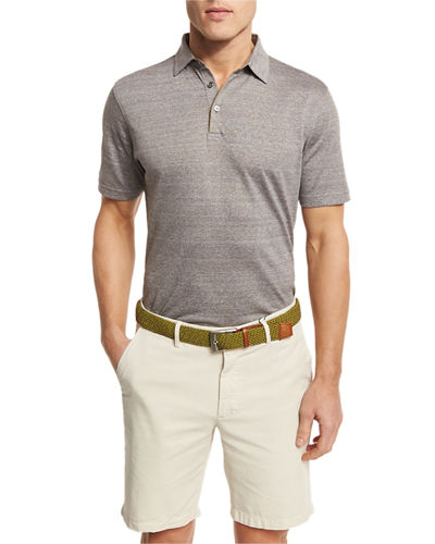 Peter Millar Needle Stripe Linen Cotton Polo Shirt