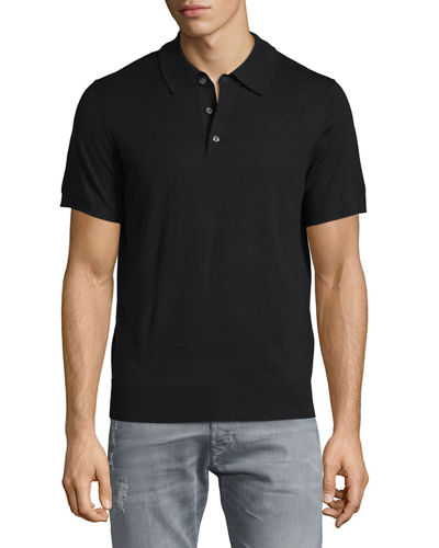 Short-Sleeve Cashmere-Silk Polo Shirt
