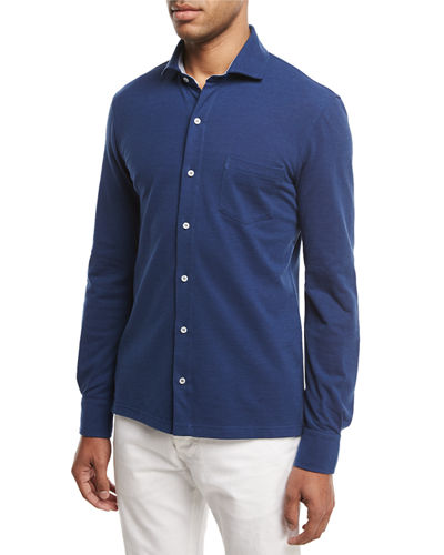 Piqué Knit Long-Sleeve Oxford Shirt