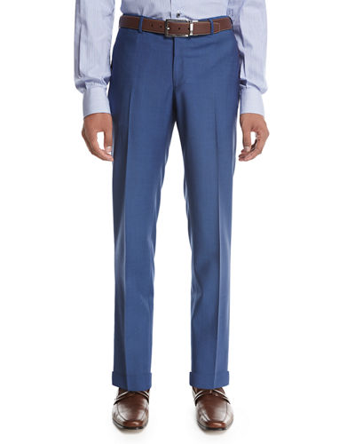 Unito Wool Flat-Front Trousers