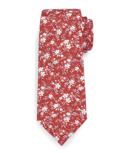 Floral-Print Silk-Cotton Tie