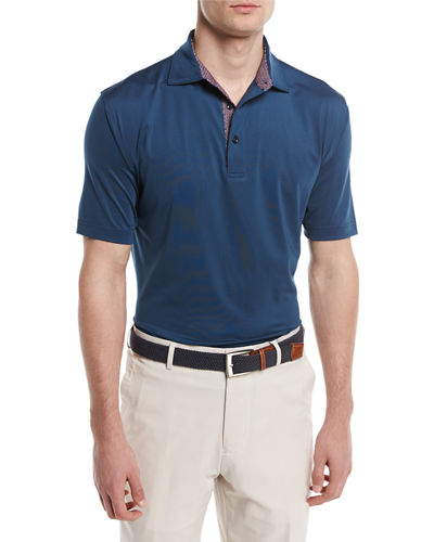 Crown Sport Solid Stretch Jersey Polo Shirt with Contrast Trim