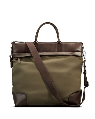 Men's Medium Leather & Nylon Travel Tote Bag
