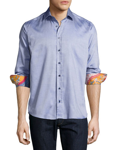 Sport Shirt with Ocean-Print Trim