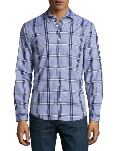 End-on-End Bold Plaid Shirt, Navy