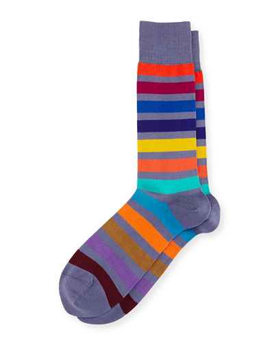Bright Rainbow Stripe Colorblock Socks