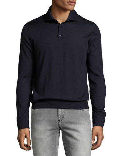 Cashmere-Silk Long-Sleeve Polo Shirt