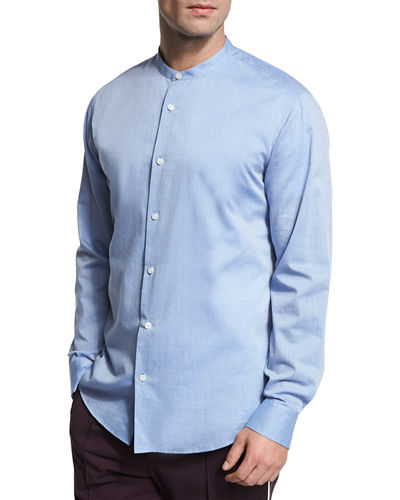 Band-Collar Cotton Shirt