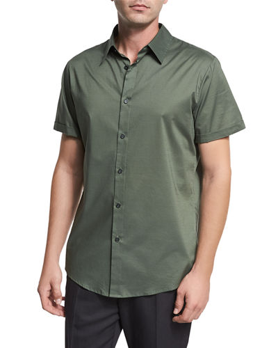 Reverse-Placket Short-Sleeve Shirt