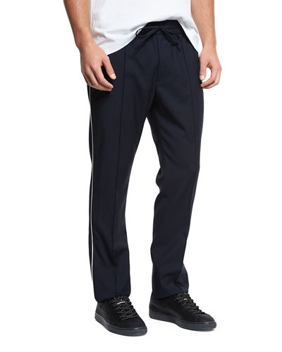 Wool Track Pants with Piping
