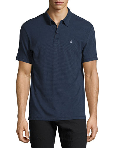 John Varvatos Star USA Striped Short-Sleeve Peace Polo