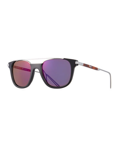 Rectangular Acetate & Metal Brow Bar Sunglasses