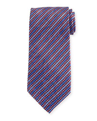 Fancy Stripe Printed Silk Tie
