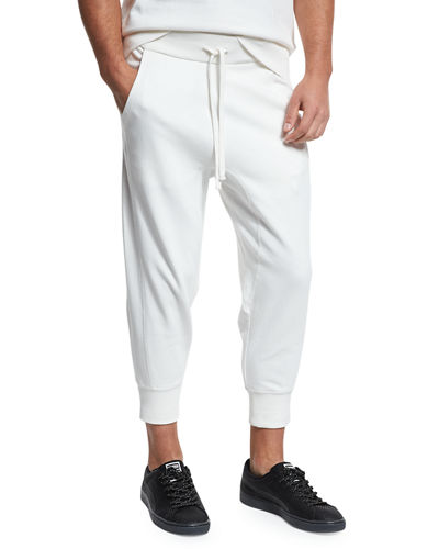 Drop-Rise French Terry Cropped Jogger Pants