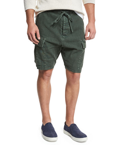 Drop-Rise Military Cargo Shorts
