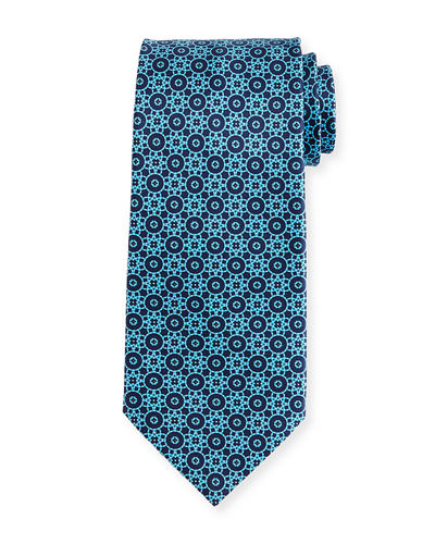 Interlocking Printed Silk Tie