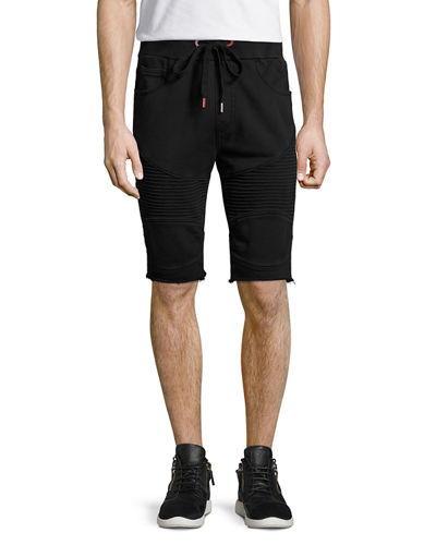 Drawstring Moto Sweat Shorts