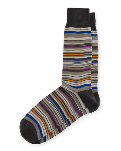 Multi-Stripe Mercerized Cotton Socks