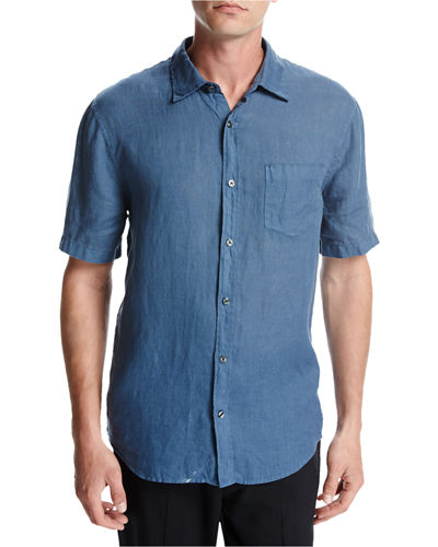 Short-Sleeve Natural-Fit Linen Shirt