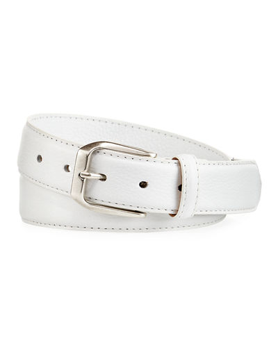 Pebbled Calfskin Leather Belt