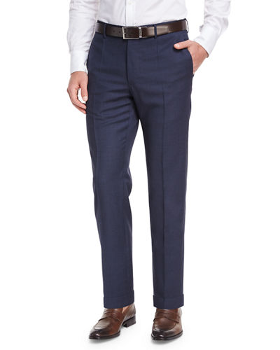 Micro-Check Wool Straight-Leg Trousers