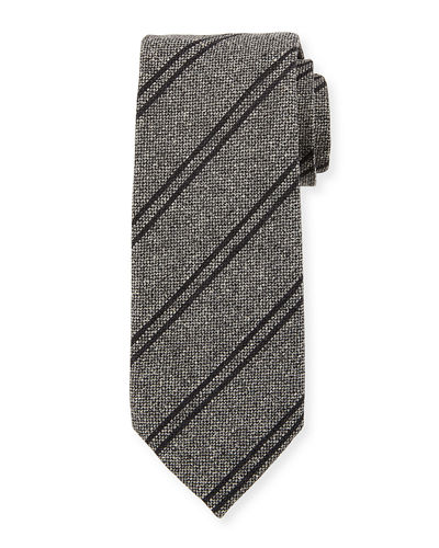 Textured Striped Silk/Wool Tie
