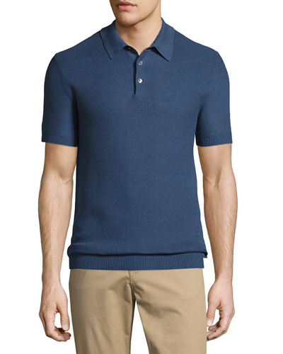 Silk-Cotton Piqué Polo Shirt