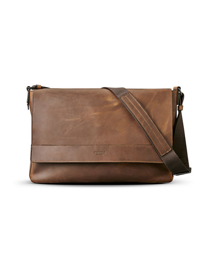 East-West Leather Messenger Bag