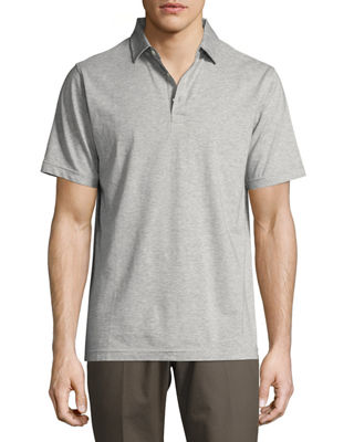 Peter Millar Crown Soft Striped Cotton-Silk Polo Shirt, Waters Edge  in Stingray