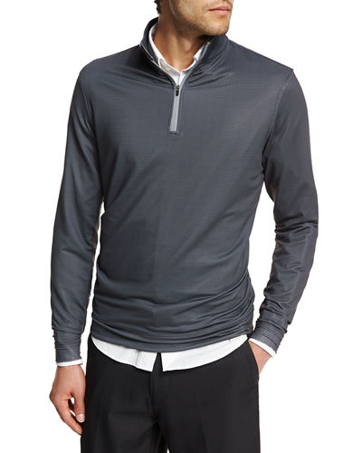 Peter Millar Crown Sport Perth Diamond-Print Quarter-Zip Sweater