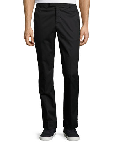 Cuffed Cotton Slim-Straight Pants